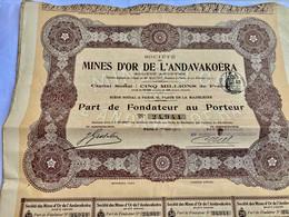 Sté  Des  MINES  D' OR  De  L' ANDAVAKOËRA --------   Part  De  Fondateur - Russia
