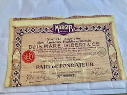 S.A.  Des  Anciens  Établissements  De  La  MARE , GIBERT & Cie--------Part  De  Fondateur - Automobilismo