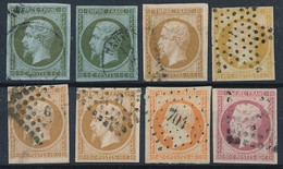 EB-176: FRANCE: Lot Obl Avec N°11(2)-13A(2)-13B(2)-16-17B - 1853-1860 Napoleon III