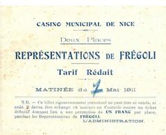 CASINO MUNICIPAL DE NICE . REPRESENTATIONS DE FREGOLI . 7/05/1911 - Programmi