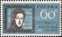 Poland, 1962, Mi 1317, Famous Poles, Frédéric Chopin, 1v Out Of Set, MNH - Música