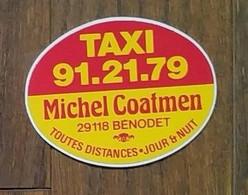 AUTOCOLLANT STICKER - TAXI MICHEL COATMEN 29118 BENODET - FINISTÈRE BRETAGNE - VOITURE - AUTOMOBILE - Autocollants