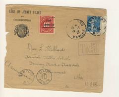 (C15) - Y&T N°140 - LETTRE CHERBOURG => USA 1922 - TP TAXE US PREO / PRECANCELLED - Storia Postale