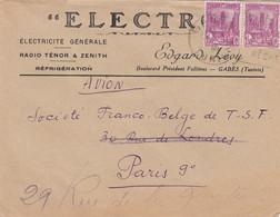 LETTRE TUNISIE. 1946. PAR AVION. 3Fr. ELECTRICITE EDGARD LEVY GABES POUR PARIS - Briefe U. Dokumente