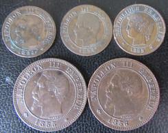 France - 5 Monnaies :  1 Centime Napoléon III 1854 MA X 2, 1 Ct Cérès 1895 A, 2 Cts 1855 MA Et 1856 BB - Collections