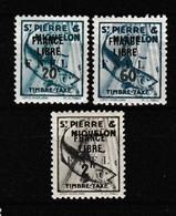SAINT PIERRE ET MIQUELON FRANCE LIBRE TAXE 1942 YT N° 60, 63 Et 65 * - Impuestos