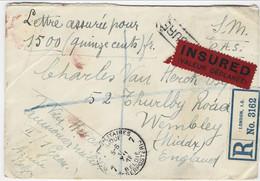Verzekerde Brief Van 1500fr Van Legerposterij 7 Naar Londen (1.XII.18) - Zeldzaam - Belgische Armee