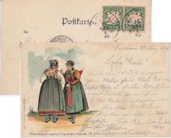 Bayern - 2x5 Pfg. Wappen AK (Trachten) N. FRANKREICH Dachau - Neuveville 1899 - Non Classificati