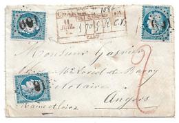 (C14) Y&T N° 60A X3 - LETTRE CHARGEE CAEN => ANGERS 1872 - VARIETE SUR TP EN HAUT A GAUCHE - 1849-1876: Classic Period
