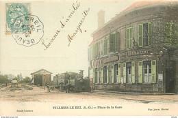 95 VILLIERS LE BEL. Café Tabac Restaurant Gallemant Et Locomotive Place De La Gare 1905 Pour Goussainville - Villiers Le Bel
