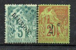 Réunion Colonie Française   Type Alphée Dubois 5 C Vert Oblitéré; 2 Sur 20 Brique Sur Vert Sans Gomme - Usati