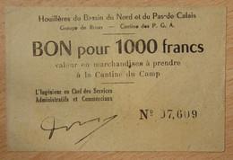 Bruay En Artois ( 62 - Pas De Calais) > Bon De 1000 Francs ND Camp Des Prisonniers Guerre Allemand - Bonds & Basic Needs