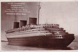 Photo Carte Du Transatlantique Normandie Circulée - Piroscafi