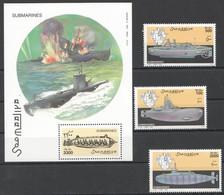 NW1455 2000 SOMALIA SOOMAALIYA SUBMARINES SHIPS #815-817+BL97 MICHEL 27 EURO MNH - Submarines