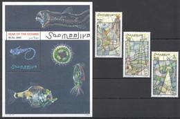 NW1473 1998 SOMALIA SOOMAALIYA YEAR OF THE OCEANS FISHES #713-715+BL53 MICHEL 17,5 EURO MNH - Marine Life