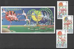 NW1477 1998 SOMALIA SOOMAALIYA FLAMINGOS BIRDS #726-728+BL56 MICHEL 19 EURO MNH - Flamingo