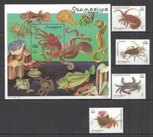 NW1479 1998 SOMALIA SOOMAALIYA CRUSTACEANS CRABS #705-708+BL52 MICHEL 19,5 EURO MNH - Crustaceans