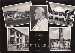CARTOLINA  SALUTI DA SOTTO IL MONTE,BERGAMO,LOMBARDIA,BELLA ITALIA,CULTURA,MEMORIA,RELIGIONE,IMPERO ROMANO,VIAGGIATA1965 - Bergamo