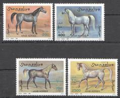 NW1491 1996 SOMALIA SOOMAALIYA ARAB HORSES ANIMALS FAUNA #588-591 MICHEL 11 EURO MNH - Horses