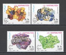 NW1506 1995 SOMALIA SOOMAALIYA MINERALS CRYSTALS GEOLOGY #555-558 MICHEL MNH - Minerals