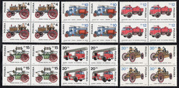 POLAND 1985 DEVELOPMENT OF FIRE FIGHTING SERVICE ENGINES TRUCKS VEHICLES BLOCKS OF 4 NHM Transport Steam Motors Firemen - Ongebruikt
