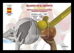 Spain 2021 Mih. 5550 (Bl.361) Spanish Women's Teams, Olympic Medalists. Basketball. Handball. Hockey. Water Polo MNH ** - 2011-... Neufs