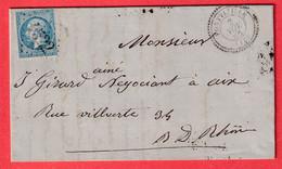 N°22 GC 4522 FONTVIELLE BOUCHES DU RHONE CAD TYPE 24 POUR AIX INDICE 14 - 1849-1876: Klassik