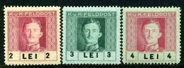 KuK FELDPOST (Rumänien) Mi. 32-34 Falz - Unused Stamps