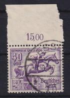 Deutsches Reich 1936 Olympiade Springreiter Mi.-Nr. 616 Oberrandstück Gest. - Zonder Classificatie
