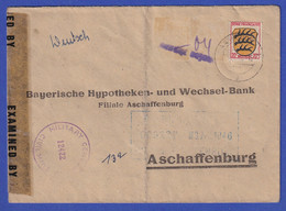 Franz. Zone / Saar Brief Aus SAARBRÜCKEN, 20 Pfg Wappen / Gebühr Bezahlt, Zensur - French Zone