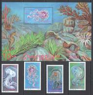 NW1499 1995 SOMALIA SOOMAALIYA JELLYFISH FISH MARINE LIFE #571-4+BL37 MICHEL 15,5 EURO MNH - Maritiem Leven