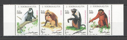 NW1515 1994 SOMALIA SOOMAALIYA MONKEYS PRIMATES ANIMALS #520-523 MICHEL MNH - Apen