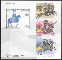 NW1413 2003 SOMALIA SOOMAALIYA ART MILITARY HORSES HORSEMEN 1BL MNH - Pferde