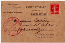 TARASCON (13) AUTOMOBILE CLUB De MARSEILLE.CONVOCATION à L'EXAMEN Du PERMIS De CONDUIRE. 1927. - Andere