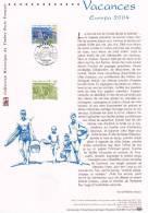 """"""" EUROPA 2004 : LES VACANCES """" Sur Document Philatélique Officiel De 2004 N°YT 3656. (Prix à La Poste = 5 €) DPO - 2004"""