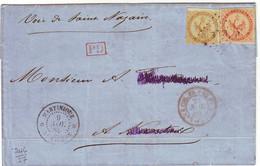 10 Et 40 C AIGLE Obl SAINT PIERRE MARTINIQUE Sur Lettre 1865 , Colonies - 1849-1876: Période Classique