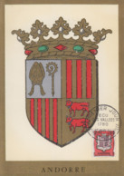 Carte  Maximum  1er  Jour  ANDORRE   Ecu  Des  Vallées   1961 - Maximumkarten (MC)