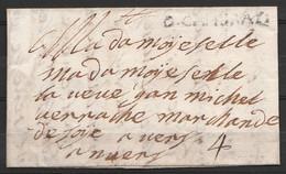 """L. Datée 22 Février 1712 De CAMBRAYE (Cambrai) Pour ANNECY - Griffe """"D.CAMBRAY"""" Port """"4"""" - 1701-1800: Voorlopers XVIII"""
