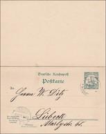 Marshall Inseln: Ganzsache Mit Antwort Von Jaluit 1901 Nach Lübeck - Kolonie: Marshalleilanden
