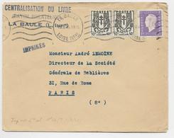 DULAC 1FR+ CHAINE 10C PAIRE LETTRE LA BAULE 19.II.1945 TARIF FACTURE PEU COMMUN - 1944-45 Marianne Van Dulac