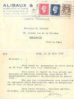 CP COMMERCIALE ALIBAUX & Cie FABRICANTS PAPIERS LYON RHONE Le 24-6-1946 MARIANNE DULAC YT 691+684,CHAÎNES BRISÉES YT 670 - 1921-1960: Période Moderne