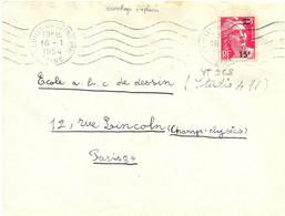MARIANNE DE GANDON 15 F. Sur 18 F. Rose Carmin YT 968 SURCHARGE DÉCALÉE OMec RBV NEUILLY-SUR-SEINE PPAL SEINE Du 16-1-54 - 1921-1960: Période Moderne
