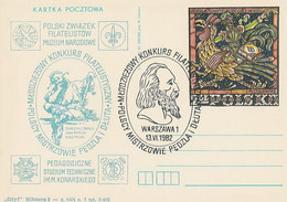 Poland Overprint Cp 805.01 War: Competition - Brush And Chisel Masters Scouting Mermaid M.Konarski - Entiers Postaux