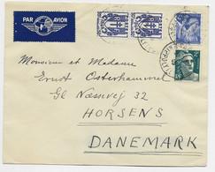 GANDON 2FR+ IRIS 4FR +50C CHAINE PAIRE LETTRE AVION PARIS 22.7.1945 POUR LE DANEMARK AU TARIF - 1945-54 Marianne Of Gandon