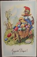 Cpa Cpsm, éditions MD N° 2305, JOYEUSES PÂQUES, Poule (Coq) Transportant Poussin Et Oeufs Dans Brouette - Pasqua