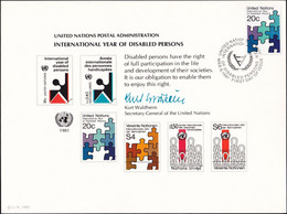 UNO NEW YORK 1981 Mi-Nr. 19 Erinnerungskarte - Souvenir Card - Briefe U. Dokumente