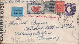 USA - Airmail, Atlantic Clipper. Double Censored Cover, CHARLOTTE 17.2.1941 - Schleswig-Holstein, Germany. - Storia Postale
