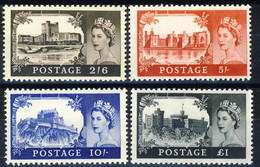 GRAN BRETAGNA 1955 Castelli Con Efficie Elisabetta II, De La Rue ** MNH LUX, Firme A. Diena, Cat UNIF. 283A/286A - Unused Stamps