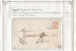 LETTRE. DEVANT. ESPAGNE. PD. MALAGA POUR PARIS ENTREE BLEUE ESPAGNE ST JEAN DE LUZ 4. 26 MARS 1873 - Cartas