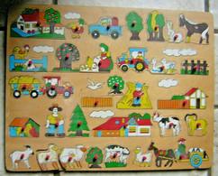 Jouet Ancien GRAND PUZZLE EN BOIS AGRICULTURE CAMPAGNE Rare Bébé Animaux - Puzzles